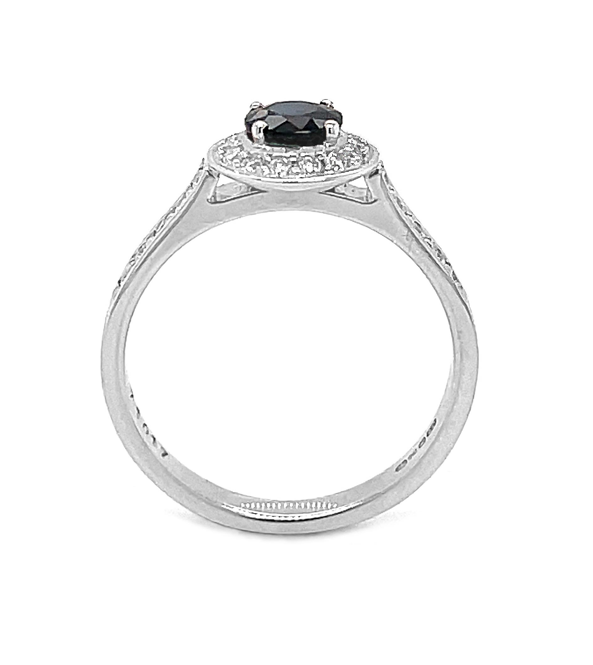 18k White Gold Dark Sapphire & Brilliant Cut Diamond Cluster Ring
