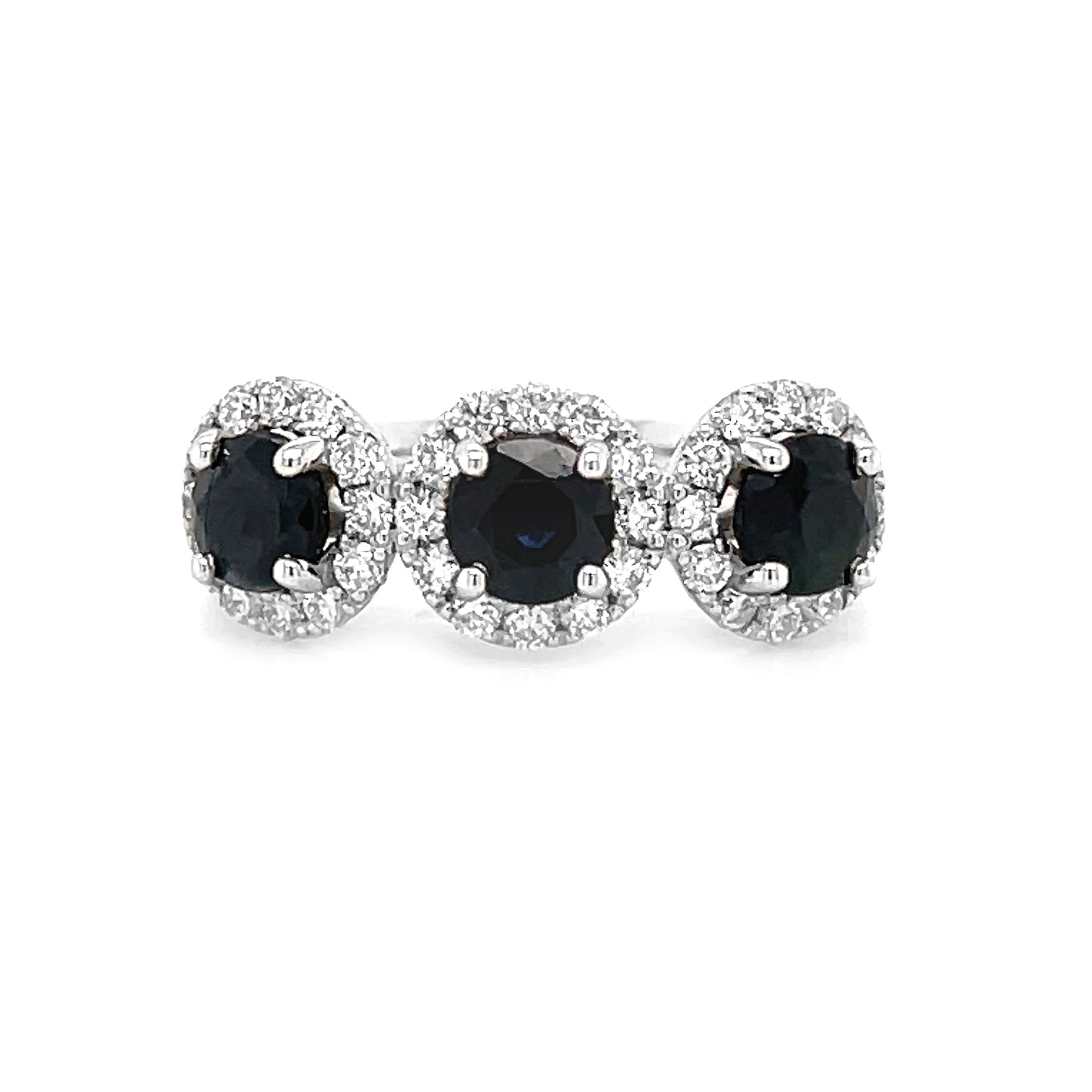 18k White Gold Dark Sapphire & Brilliant Cut Diamond Treble Cluster Ring