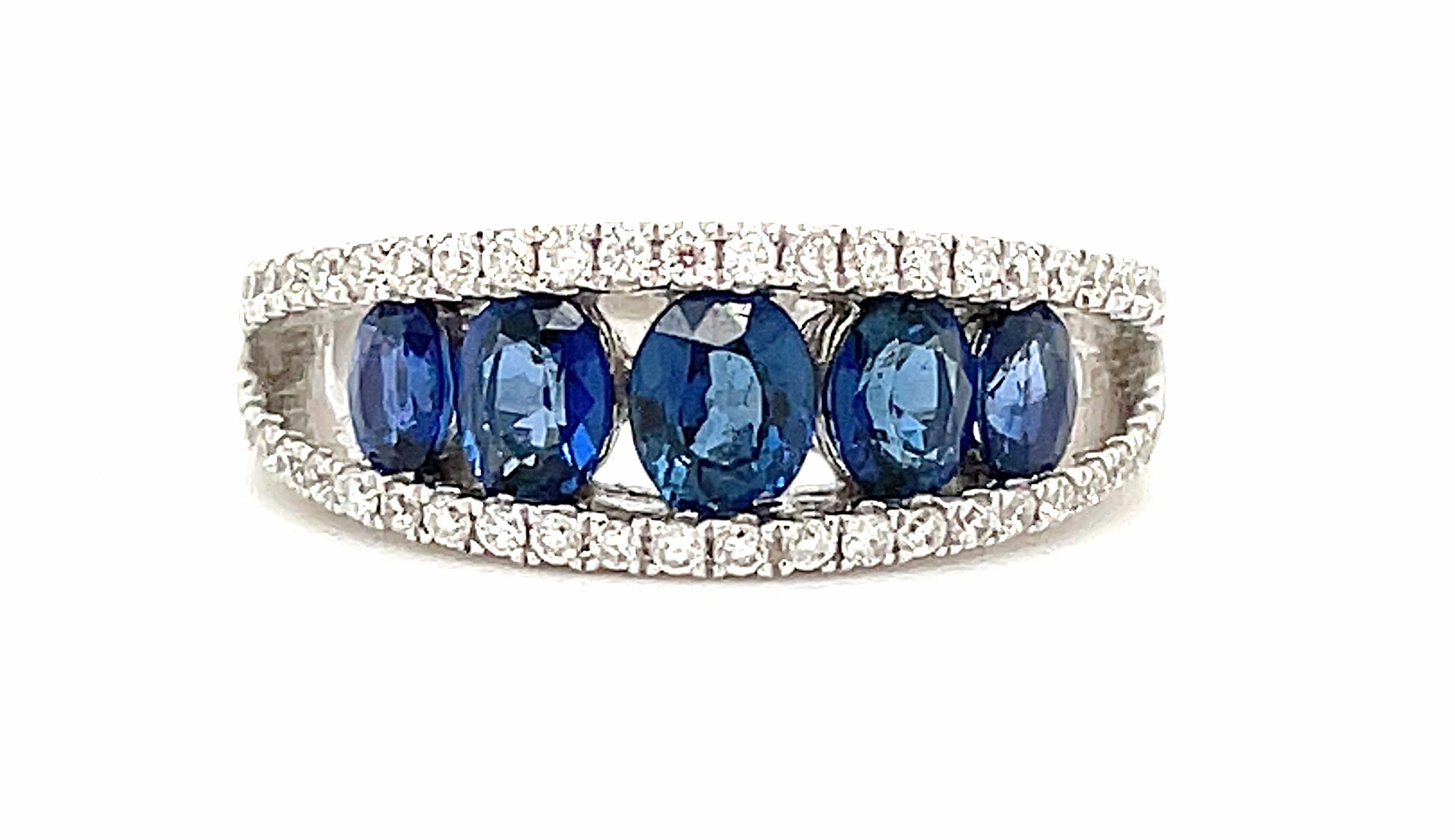 18k White Gold Oval Sapphire & Brilliant Cut Diamond Dress Ring