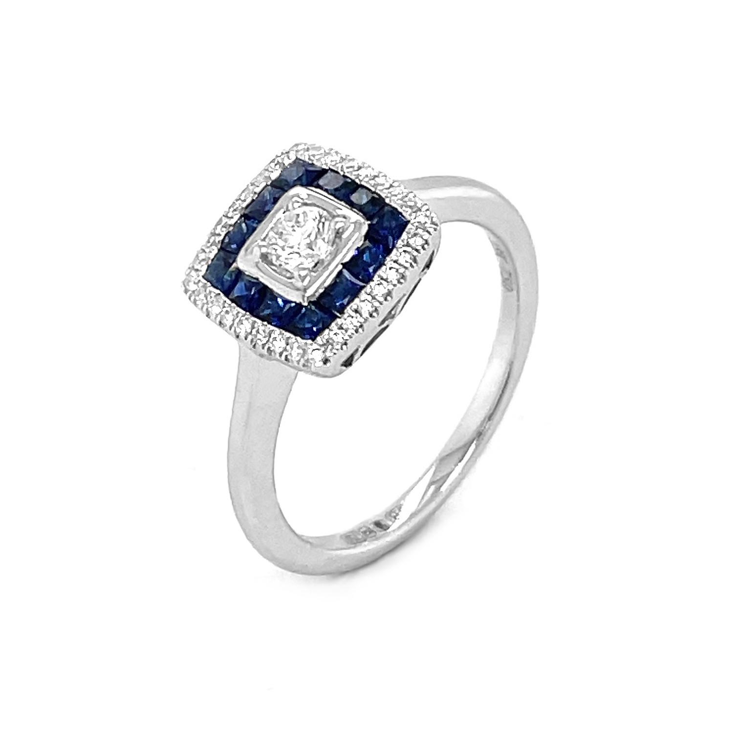 18k White Gold Square Sapphires & Brilliant Cut Diamond Cluster Ring