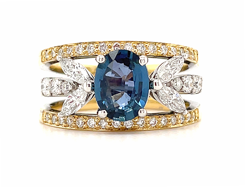 18k Gold Oval Sapphire & Diamond Fancy Dress Ring