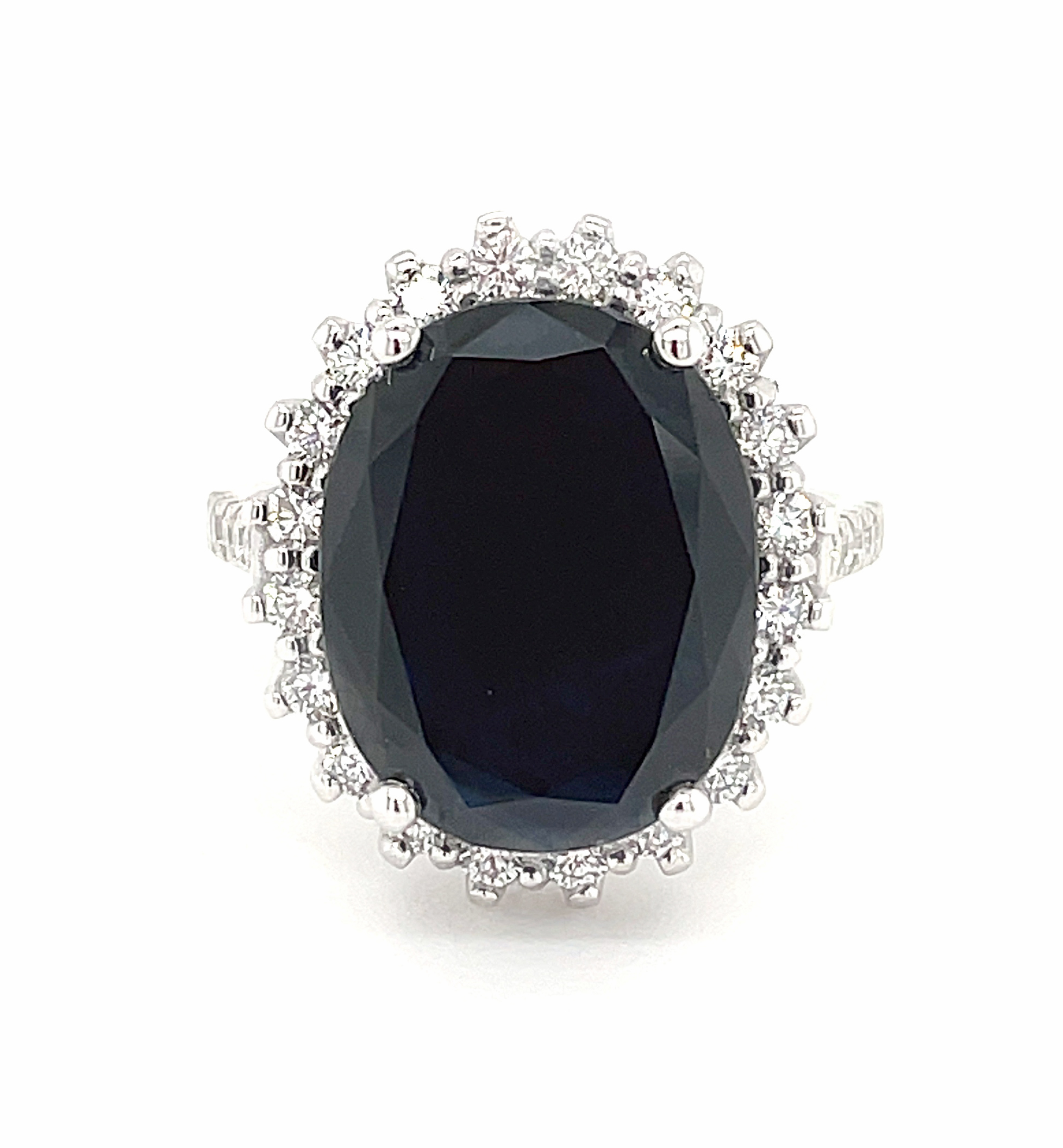 18k White Gold Dark Oval Sapphire & Brilliant Cut Diamond Cluster Ring