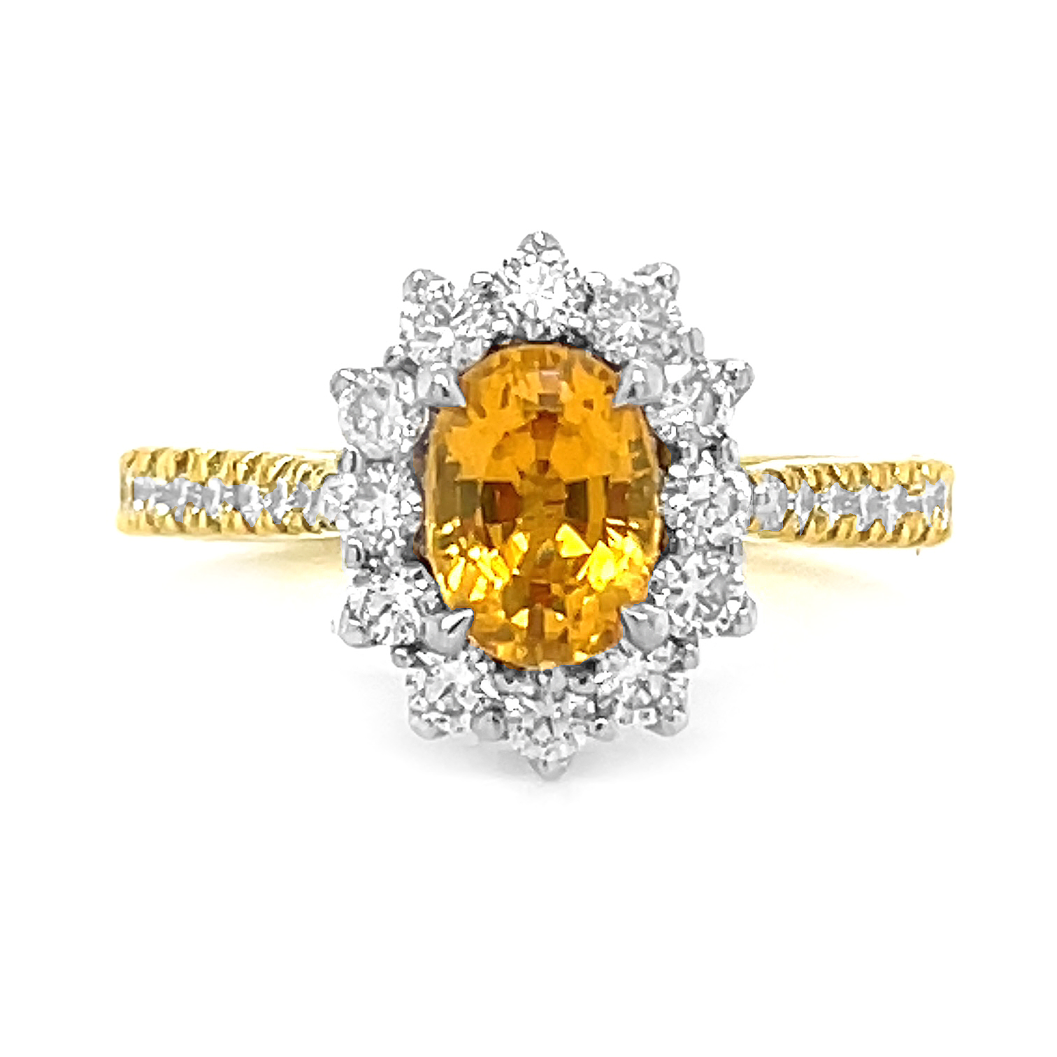 18k Yellow & White Gold Oval Yellow Sapphire & Brilliant Cut Diamond Cluster Ring