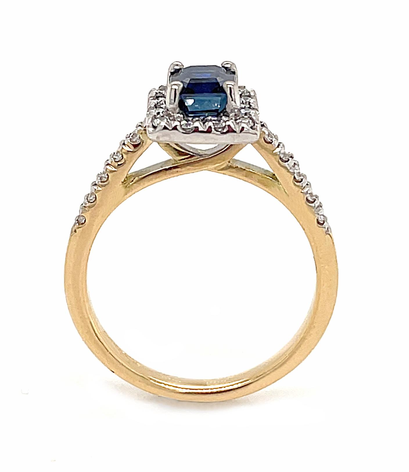 18k Yellow & White Gold Sapphire & Brilliant Cut Diamond Cluster Ring