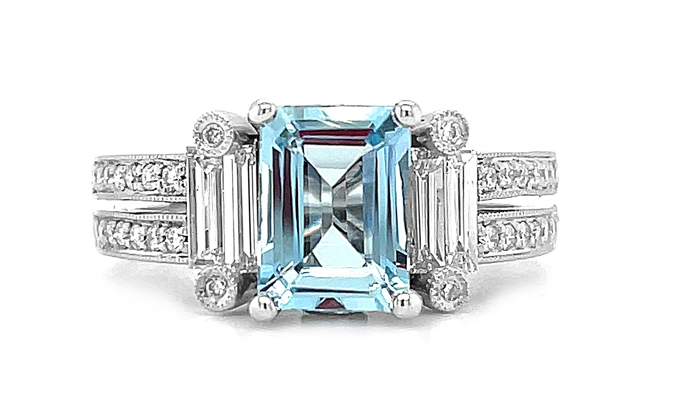 18k White Gold Octagonal Aquamarine & Diamond Dress Ring