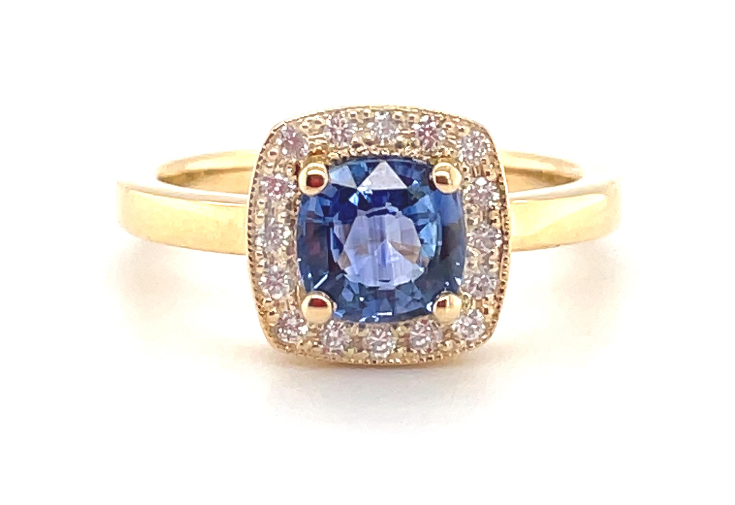 18k Yellow Gold Cushion Sapphire & Diamond Cluster Ring