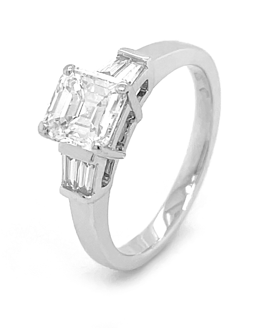 18k White Gold Emerald Cut 1.21cts Diamond Engagement Ring, Baguette Diamond Shoulders