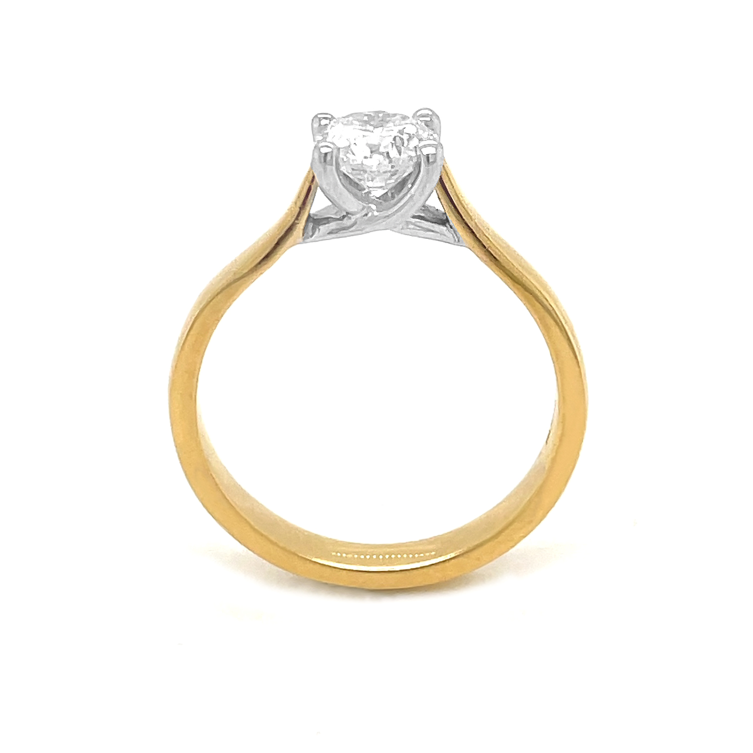 18k Yellow & White Gold Brilliant Cut 0.80cts Diamond Solitaire Ring