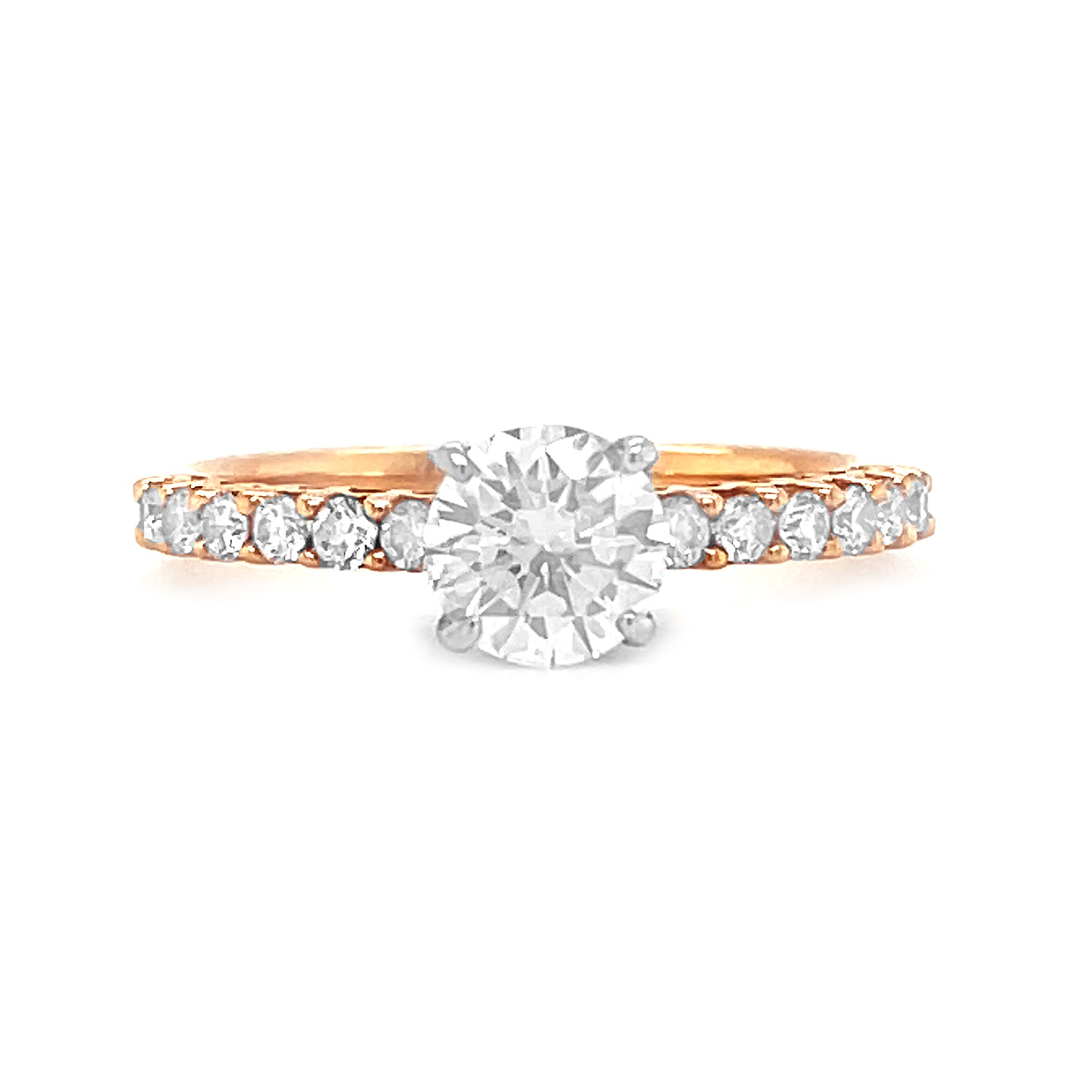 18k Red & White Gold Brilliant Cut 0.70cts Diamond Engagement Solitaire Ring