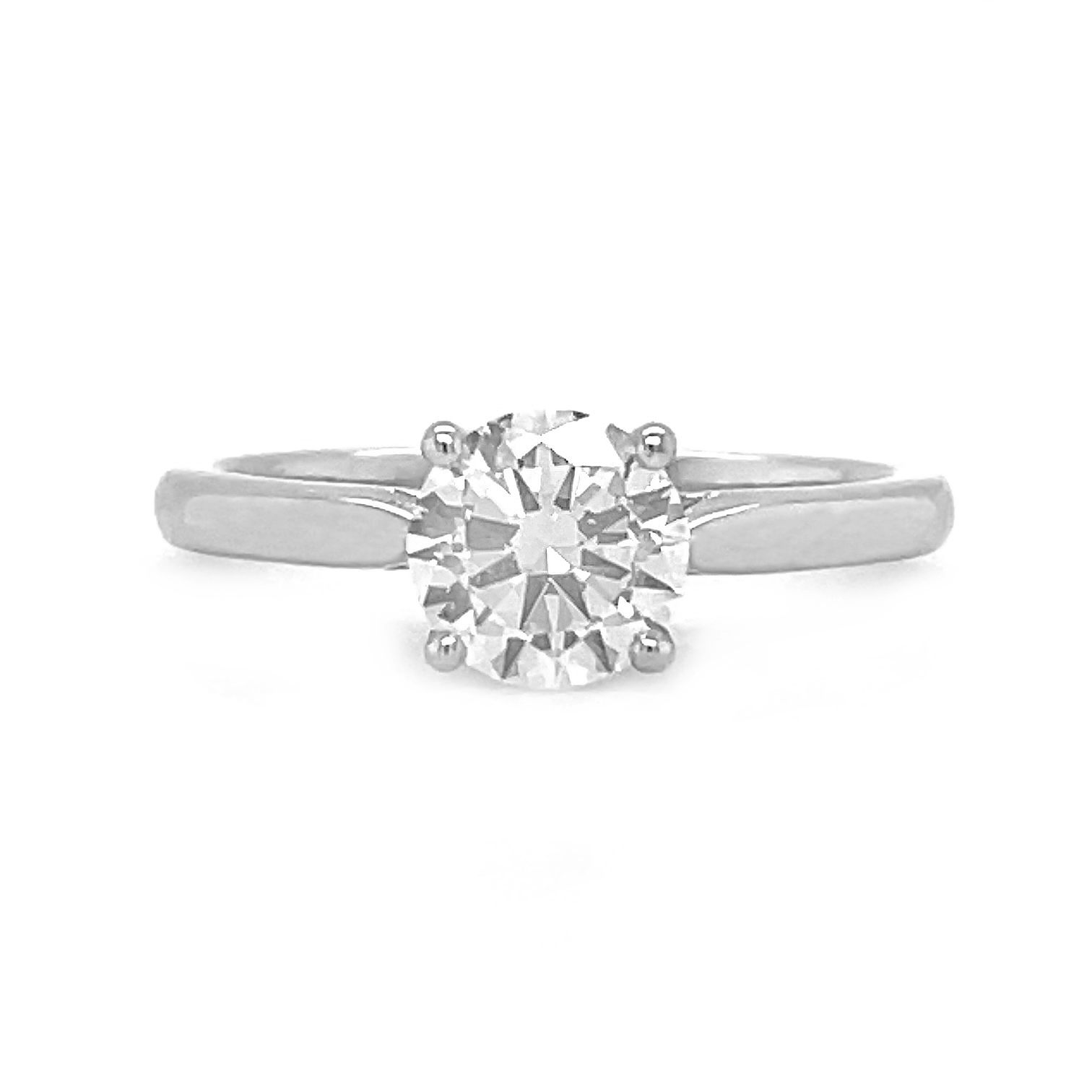 18k White Gold Brilliant Cut 1.01cts Diamond Solitaire Engagement Ring