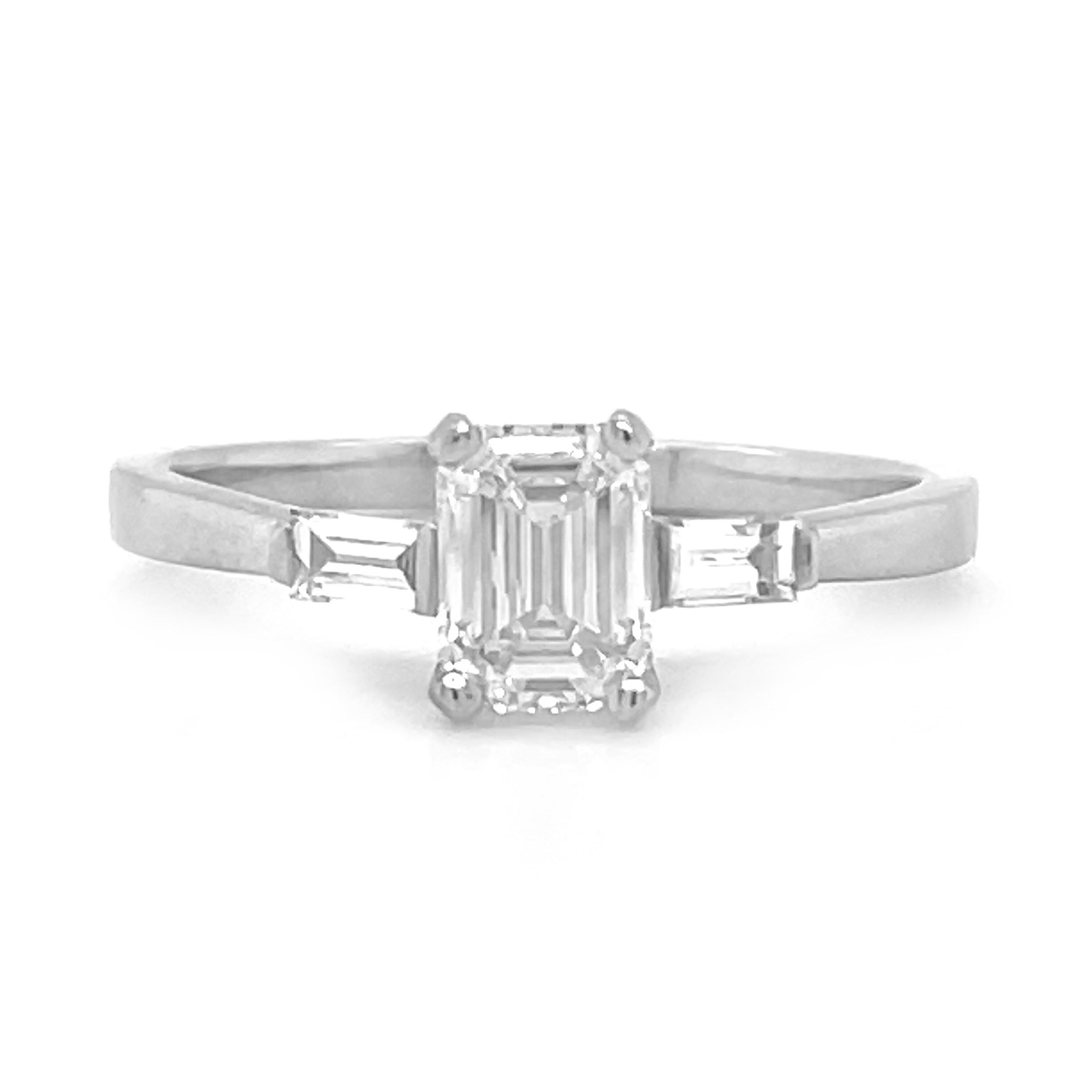 Platinum Emerald Cut 1.01cts Diamond Solitaire Engagement Ring, Baguette Diamond Shoulders