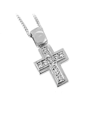 Brilliant Cut Diamond Cross Pendant On Chain