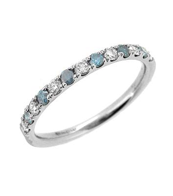 18k White Gold Coloured Blue Diamond & White Diamond Eternity Ring