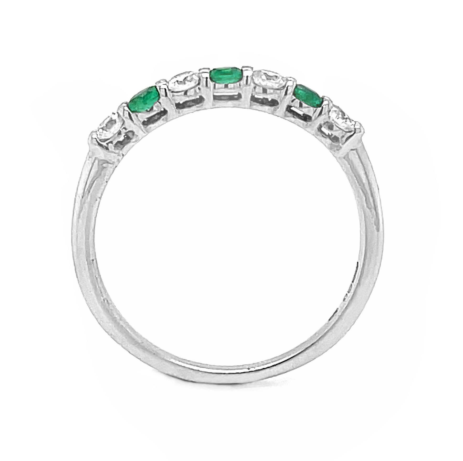 7 Stone Emerald And Diamond Eternity Ring In White Gold
