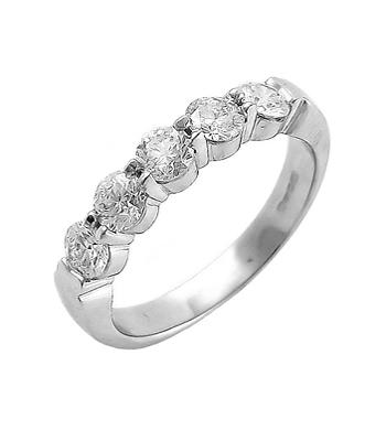 18k White Gold Ring With 5 Diamond Stones