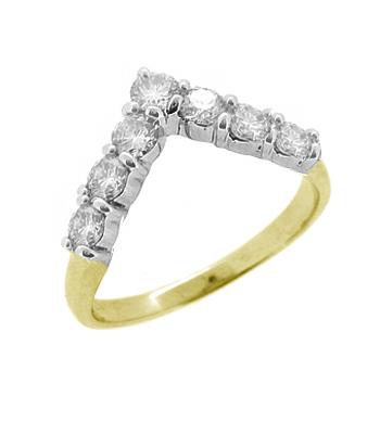 18k Yellow And White Gold 7 Stone Diamond V Shape Wedding Ring