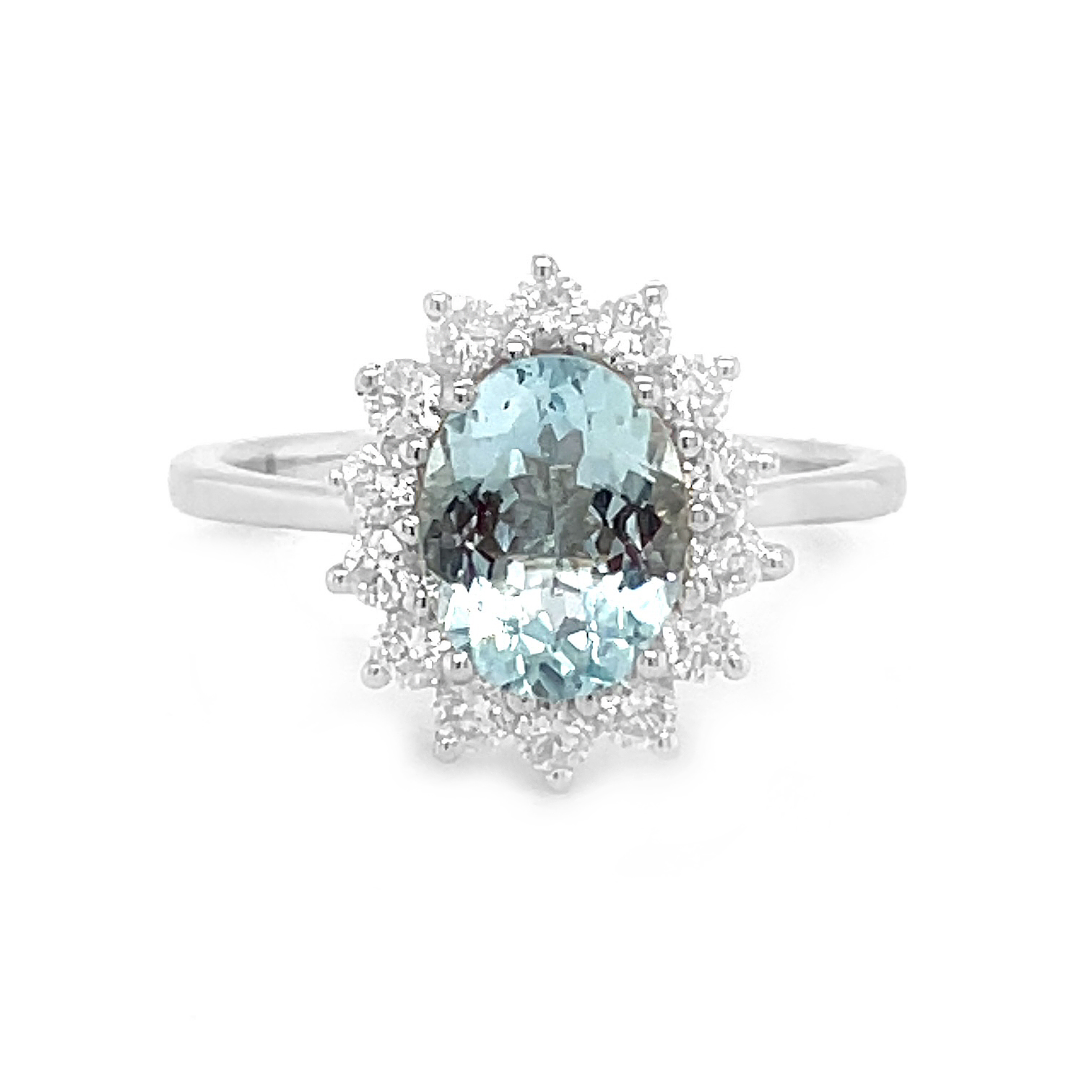 18k White Gold Oval Aquamarine And Diamond Cluster Ring