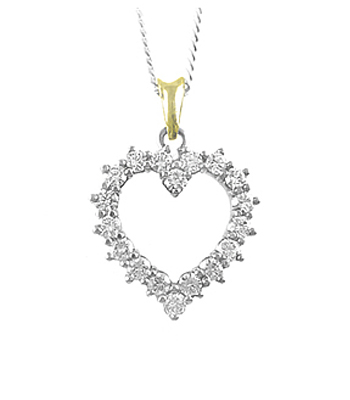 18k Gold Diamond Open Heart Pendant On Chain