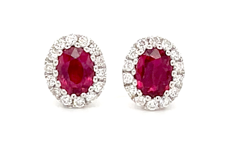 0.56cts Oval Ruby & Brilliant Cut Diamond Cluster Stud Earrings