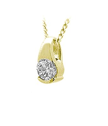 18k Gold Diamond Solitaire Pendant On Chain
