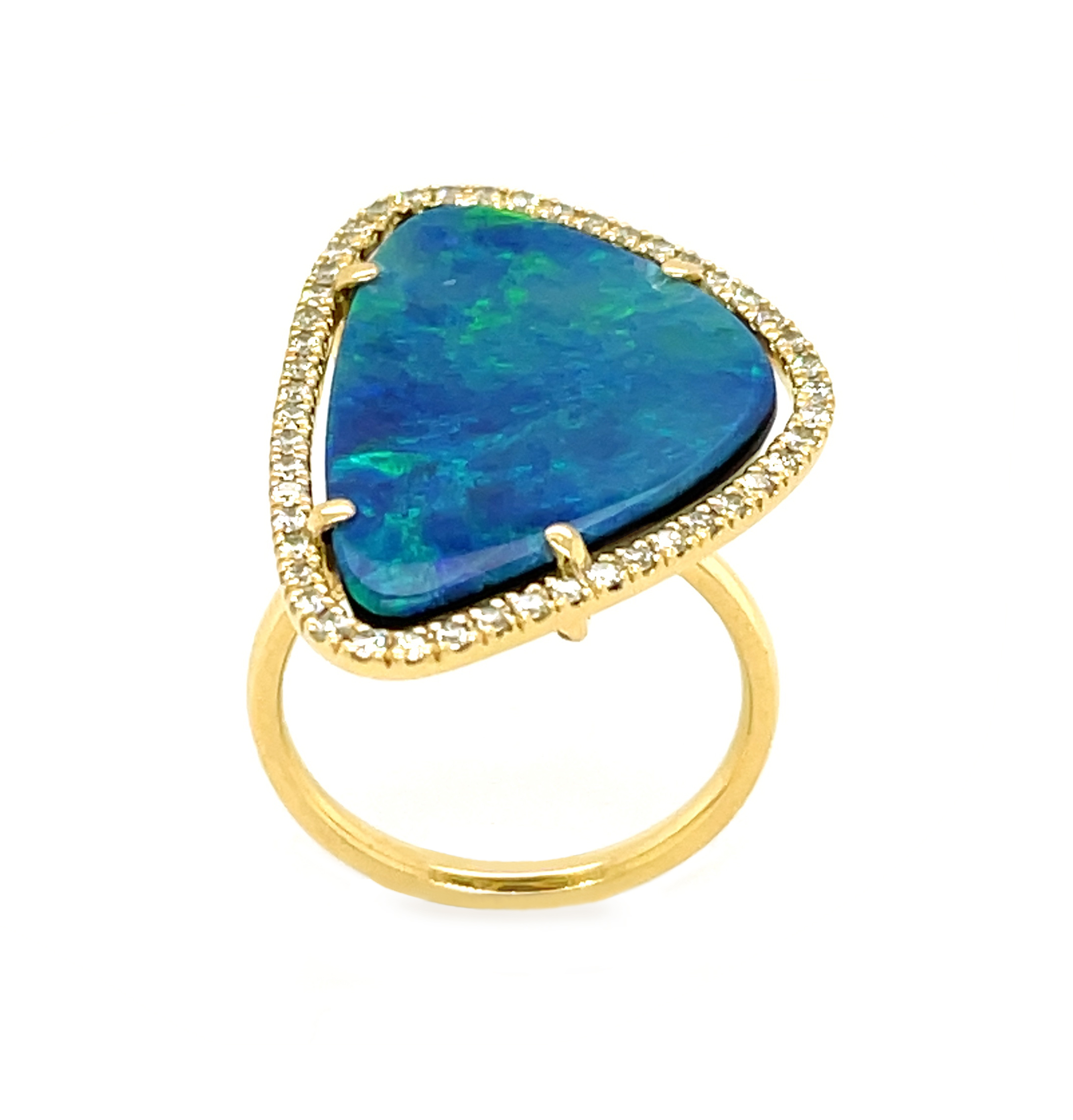 18k Yellow Gold Black Opal & Brilliant Cut Diamond Dress Ring