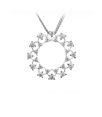 Circle Pendant With Brilliant Cut Diamond In 18k White Gold On Chain