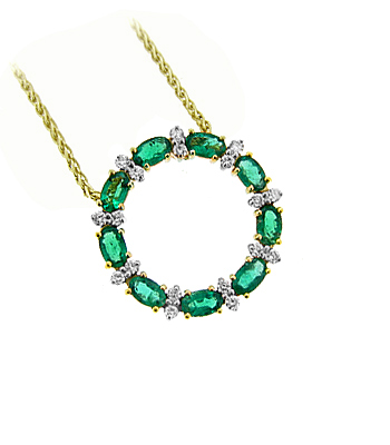 18k Yellow Gold Oval Emerald And Diamond Circle Pendant On Chain