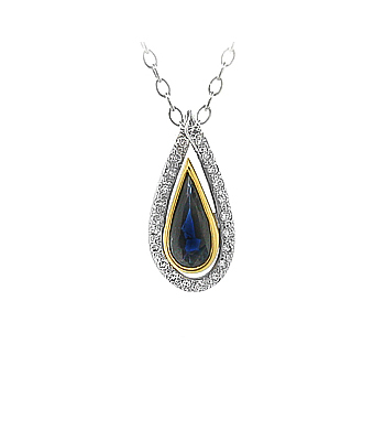 Pearshape Sapphire & Brilliant Cut Diamond Cluster Pendant On Chain