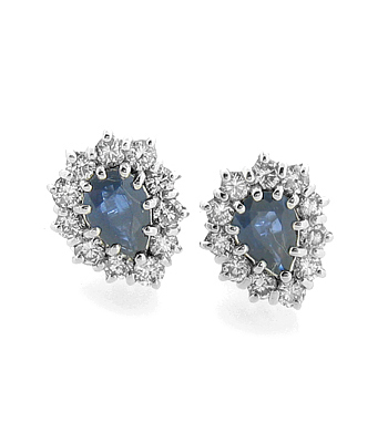 White Gold Stud Earrings With Pearshape Sapphire & Diamond Cluster