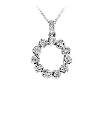 18k White Gold Diamond Open Circle Pendant On Chain