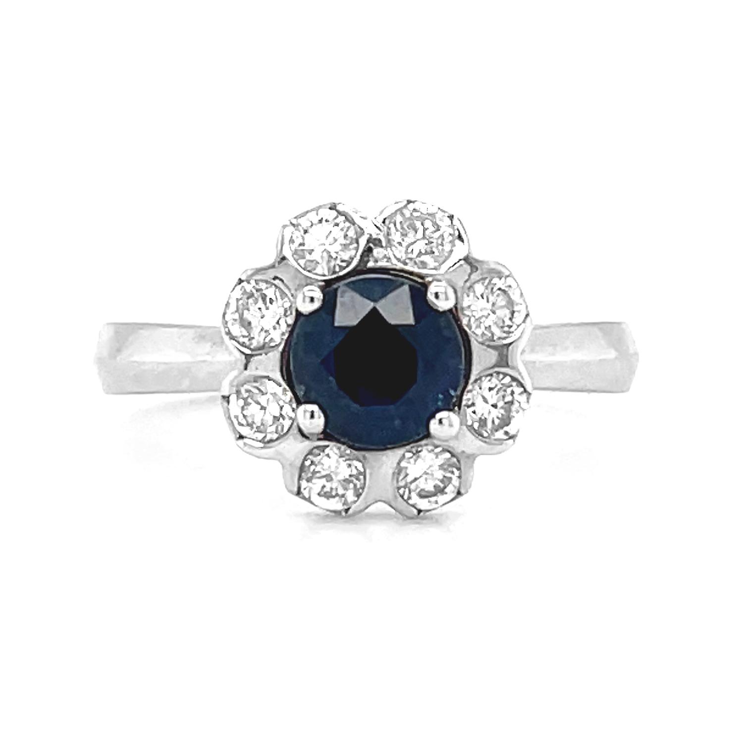 18k White Gold Round Sapphire & Diamond Ring