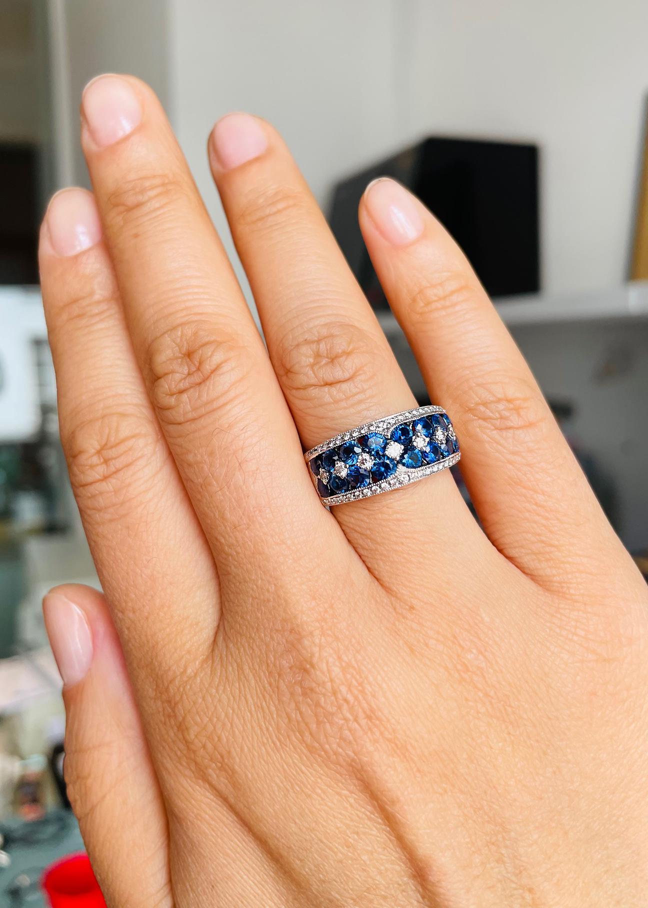 White Gold Dress Ring With Round Sapphire & Diamonds