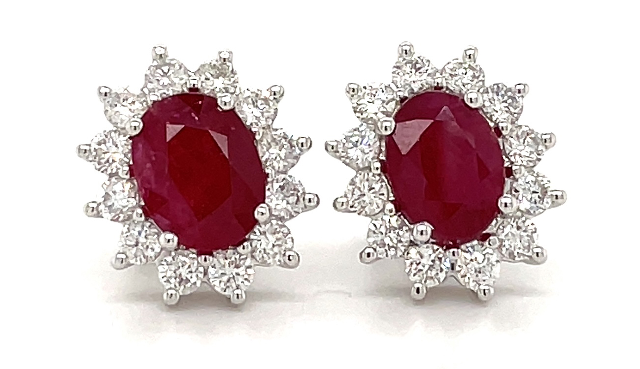 Ruby And Diamond Cluster Stud Earrings In 18k White Gold