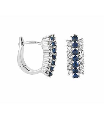 Sapphire & Brilliant Cut Diamond Hoop Earrings In 18k White Gold