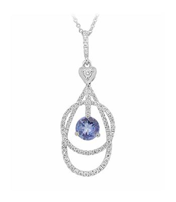 Sapphire & Brilliant Cut Diamond Pendant On White Gold Chain