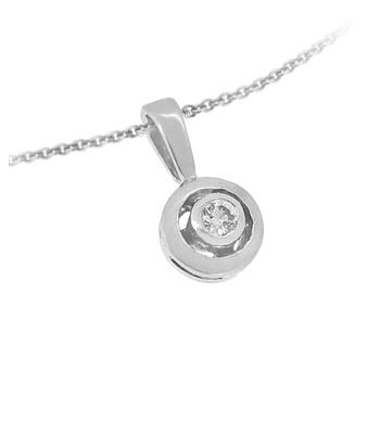 Diamond Solitaire Pendant In 18k White Gold Bezel Setting On Chain