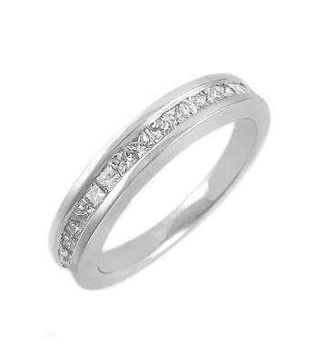 18k White Gold Princess Cut Diamond Channel Set Ring