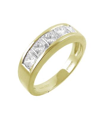 18k Yellow Gold 5 Stone Princess Cut Diamond Ring