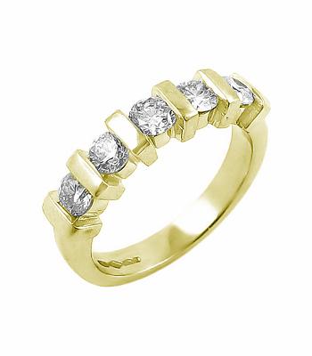 18k White Gold 5 Stone Brilliant Cut Diamond Ring