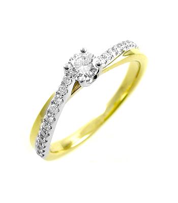 18k Yellow & White Gold Brilliant Cut Diamond Twist Ring