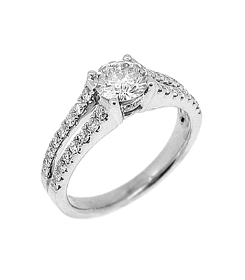 18k White Gold Brilliant Cut Diamond Ring, Double Row Diamond Shoulders