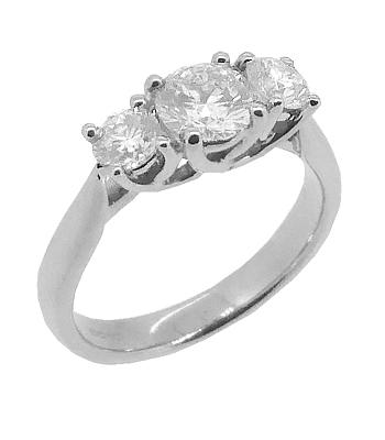 Brilliant Cut Diamond Ring, 3 Stone, White Gold