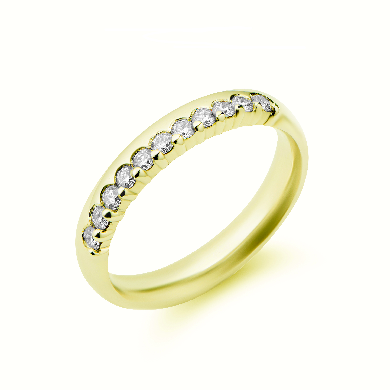 18k Yellow Gold 11 Stone Brilliant Cut Diamond Eternity Ring