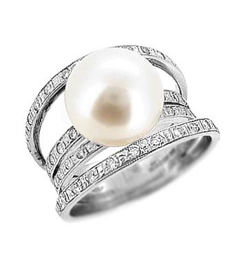 18k White Gold 10.5-11mm Pearl & Brilliant Cut Diamond 4 Row Dress Ring
