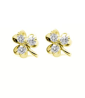 14K White Gold 3 Stone Diamond Shamrock Stud Earrings