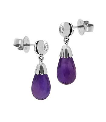 18k White Gold Amethyst & Brilliant Cut Diamond Drop Earrings