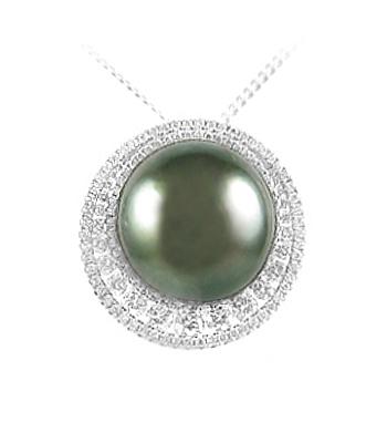 18k White Gold Black Pearl & Brilliant Cut Diamond Cluster Pendant On Chain