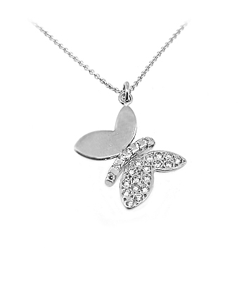 18k White Gold Brilliant Cut Diamond Butterfly Pendant On Chain