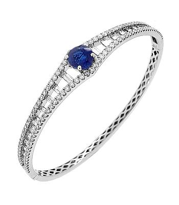 18k White Gold Round Sapphire & Brilliant Cut Diamond & Baguette Diamond Bangle