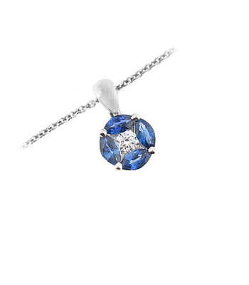 18k White Gold Marquise Sapphire & Diamond Cluster Pendant On Chain